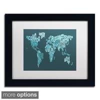 Michael Tompsett 'Text Map of the World II' Framed Matted Art