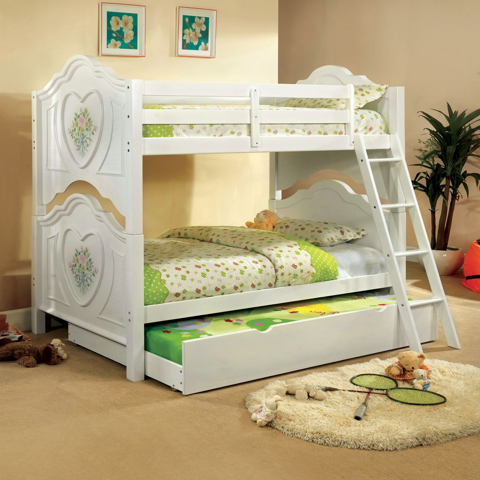 Furniture of America Rosalina Floral White Bunk Bed with ...