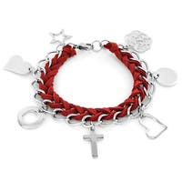 Elya Stainless Steel and Woven Leather Love and Faith Charm Bracelet