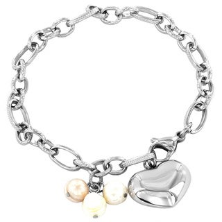 ELYA Stainless Steel Pearl and Heart Charm Textured Link Bracelet (7-8 mm)