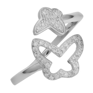 Fremada Rhodium Plated Sterling Silver Cubic Zirconia Double Butterfly Ring (size 6, 7, 8, or 9)