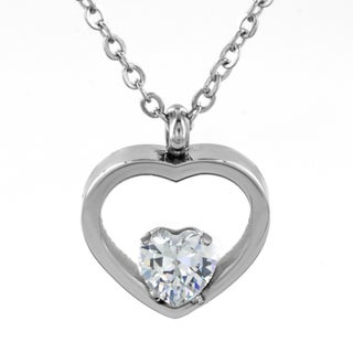 ELYA Stainless Steel Cubic Zirconia Heart Necklace