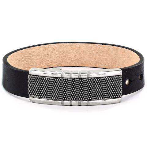 Men's Black Leather and Criss Cross Buckle Bracelet