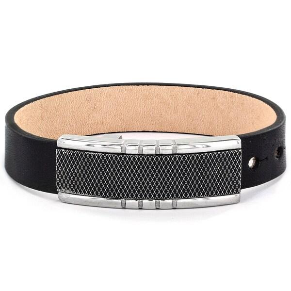 Men's Black Leather and Criss Cross Buckle Bracelet. Opens flyout.