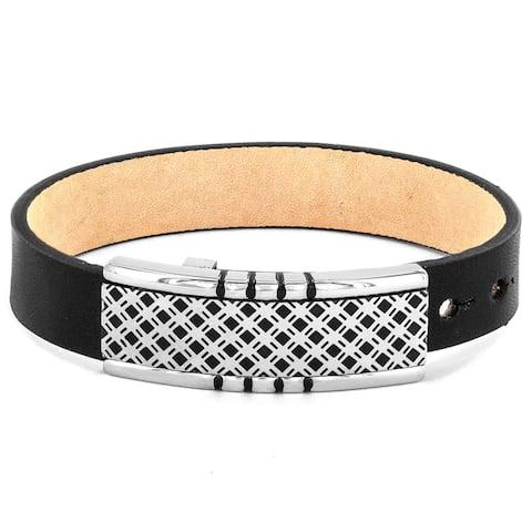 Men's Black Leather and Lattice Buckle Bracelet