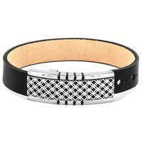 Crucible Black Leather and Lattice Buckle Bracelet