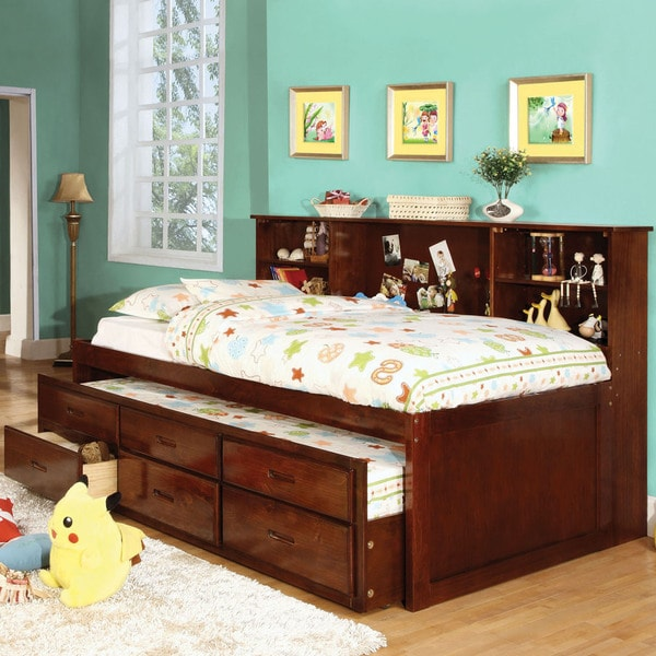Furniture Of America Percius Cherry Captain Bed With Trundle And Bookcase Headboard