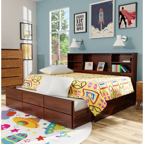 Furniture of America Percius Cherry Wood/Veneer Captain Bed with Trundle and Bookcase Headboard