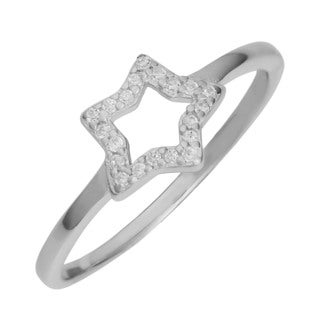Fremada Rhodium Plated Sterling Silver Cubic Zirconia Star Ring