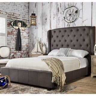 furniture of america draviosa button tufted padded flax wingback platform bed