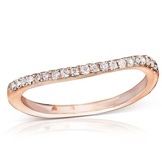 Annello by Kobelli 14k Gold 1/6ct TDW Diamond Curved Wedding Band