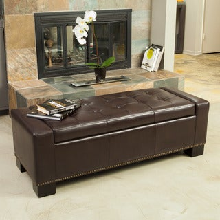 Explorer Leather Storage Ottoman with Studs by Christopher Knight Home