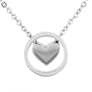 ELYA Stainless Steel Heart and Circle Pendant Necklace