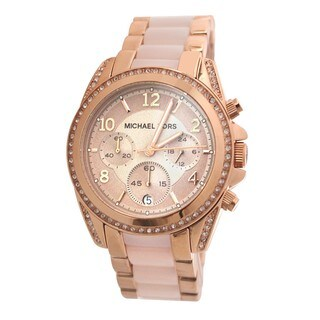 Michael Kors Women's MK5943 Blair Rose Goldtone Glitz Chronograph Watch