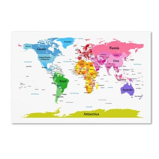 Childrens Multicolored World Map Canvas Art Free Shipping - Children's map of the world to print free