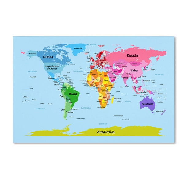 Shop michael tompsett world map for kids canvas art on sale michael tompsett x27world map for gumiabroncs Choice Image