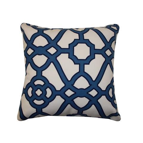 Jiti Blue Octagon Transitional Geometric Sunbrella Outdoor Pillow - 20 x 20