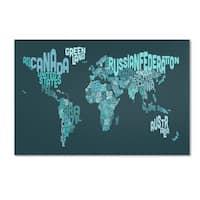 Michael Tompsett 'Text Map of the World II' Canvas Art - Multi