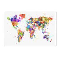 Michael Tompsett 'Text Map of the World III' Canvas Art - Multi