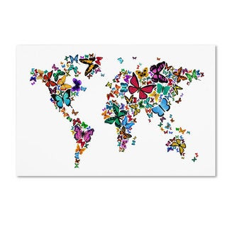 Michael Tompsett 'Butterflies Map of the World' Canvas Art