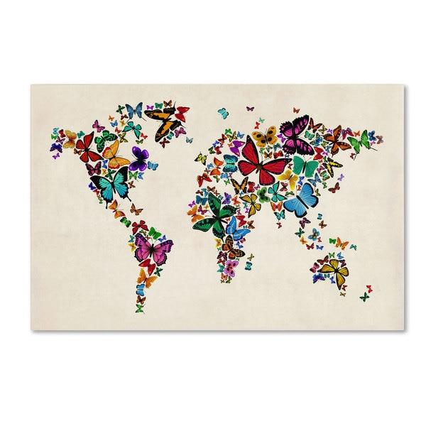 Michael Tompsett 'Butterflies Map of the World II' Canvas Art