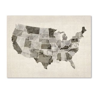 Michael Tompsett 'United States Watercolor Map' Canvas Art