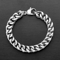 Crucible Stainless Steel Large Franco Chain Bracelet (10mm) 8.5 Inches