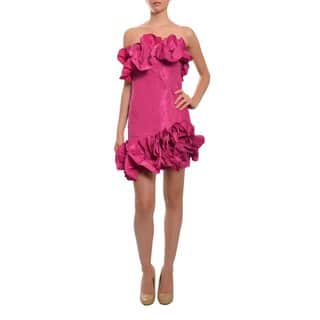 Marchesa Notte Women's Strapless Fitted Silk Taffeta Ruffled Evening Party Dress|https://ak1.ostkcdn.com/images/products/9188917/P16362479.jpg?impolicy=medium