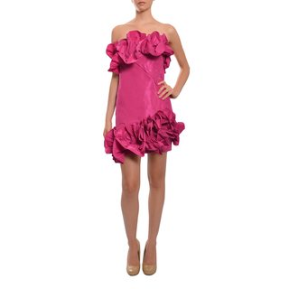 Marchesa Notte Women's Strapless Fitted Silk Taffeta Ruffled Evening Party Dress