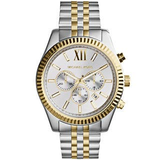 Michael Kors Men's MK8344 Chronograph Silver-Tone Dial Two-Tone Stainless Steel Bracelet Watch https://ak1.ostkcdn.com/images/products/9188943/P16362509.jpg?impolicy=medium