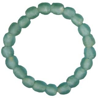 Handmade Sky Blue Recycled Glass Stretch Bracelet (Ghana)