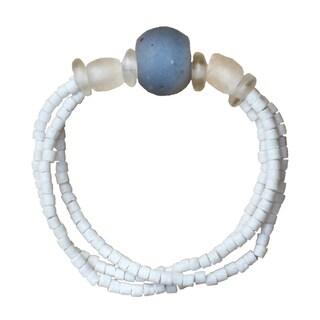 Recycled Blue Glass Abacus Bracelet (Ghana)