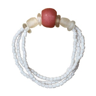 Handmade Recycled Pink Poppy Glass Abacus Bracelet (Ghana)