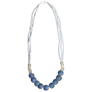 Handmade Recycled Blue Glass Abacus Necklace (Ghana)