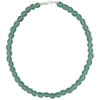 Handmade Sky Blue Pearl Recycled Glass Necklace (Ghana)