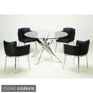 Somette Round Glass Top Chrome 5-piece Dining Set