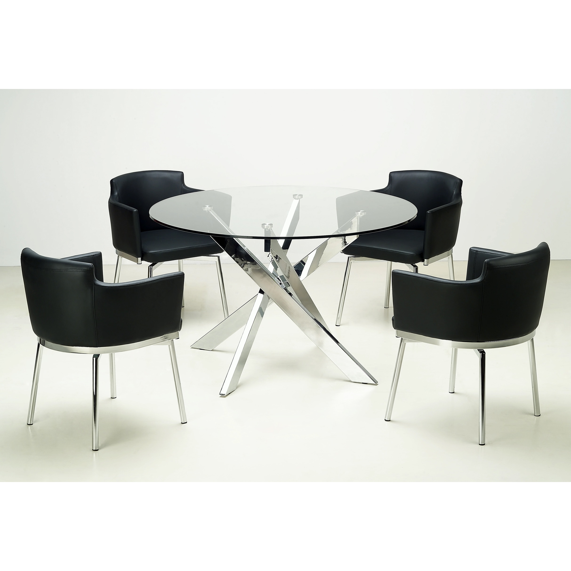 Somette Round Glass Top Chrome 5 Piece Dining