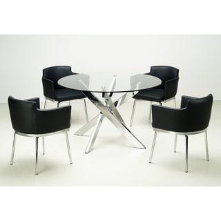 Somette Round Glass Top Chrome 5-piece Dining Set