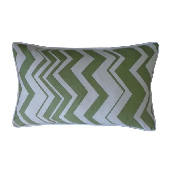 """Handmade Vista Green Throw Pillow - 12"""" x 20"""""""