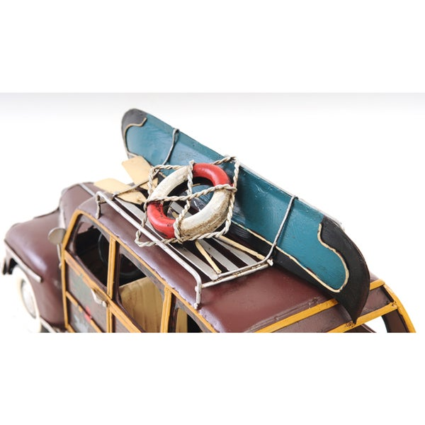 "1947 Chevrolet Suburban Woody Metal Car Model 14/"" w// Canoe Automobile Decor New"