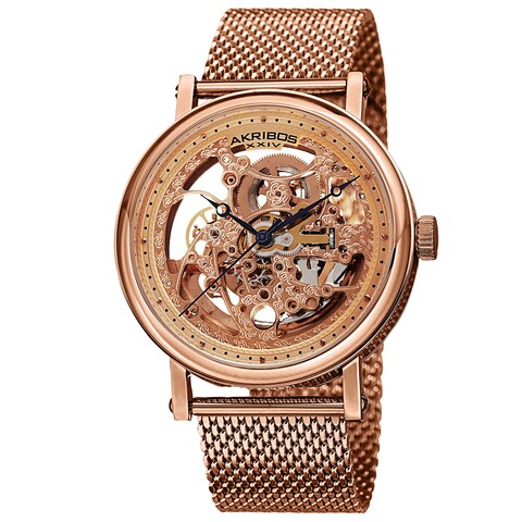 Akribos XIV Men's Mesh Stainless Steel Automatic Rose-Tone Bracelet Watch