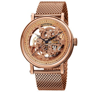 Akribos XIV Men's Mesh Stainless Steel Automatic Rose-Tone Bracelet Watch with Gift Box
