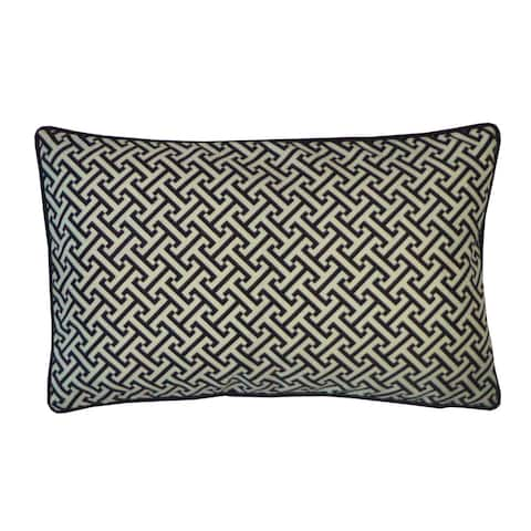 Jiti Black Transitional Geometric Sunbrella Outdoor Pillow - 12 x 20
