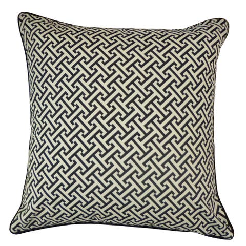 Jiti Grey Geometric Modern & Contemporary Handmade Polyester Square Outdoor Pillow - 20 x 20