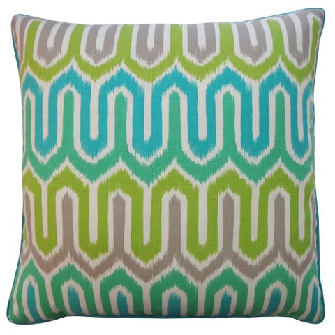 Jiti Green Geometric Tropical Handmade Polyester Square Outdoor Pillow - 24 x 24