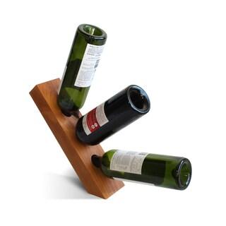 Hand-made Balancing Knotty Alder Wood 3-bottle Wine Wedge