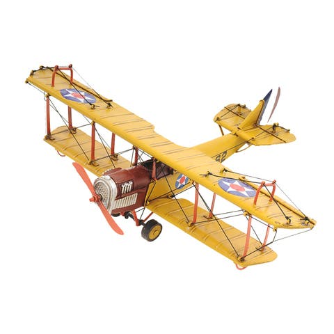 1918 Yellow Curtiss JN-4 1:24 Scale Model Biplane