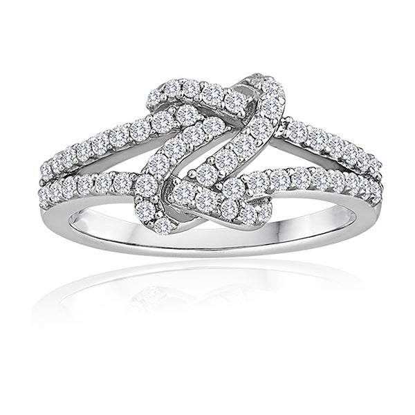 Sterling Silver 1/2ct TDW Diamond Love Knot Ring
