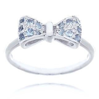Blue Box Jewels Rhodium-plated Sterling Silver Aquamarine Cubic Zirconia Mini Bow Ring