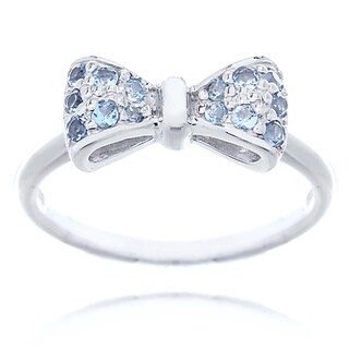 Blue Box Jewels Rhodium-plated Sterling Silver Aquamarine Cubic Zirconia Mini Bow Ring